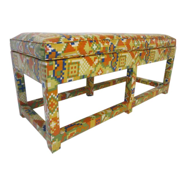 Oil Cloth Upholstered Bench For Sale