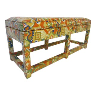 Upholstered Bench in the Manner of Karl Springer and Steve Chase For Sale
