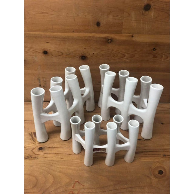 Early 20th Century Vintage White Coral Vase Flower Ceramic Vases - 3 Piece Set For Sale - Image 5 of 11