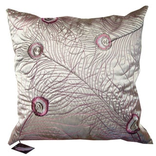 Silver Violet Peacock Feather Embroidered Down Pillow