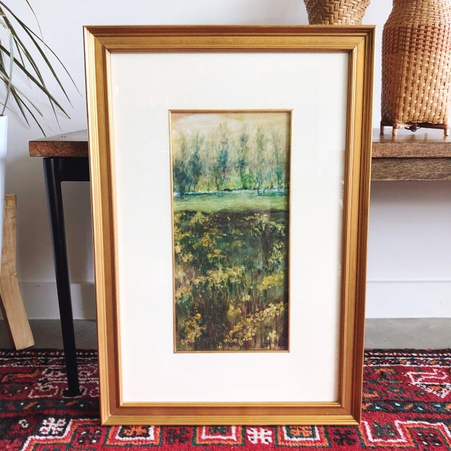 Vintage Impressionist original oil painting depicting a landscape scene. The painting is signed; the artist's signature is...