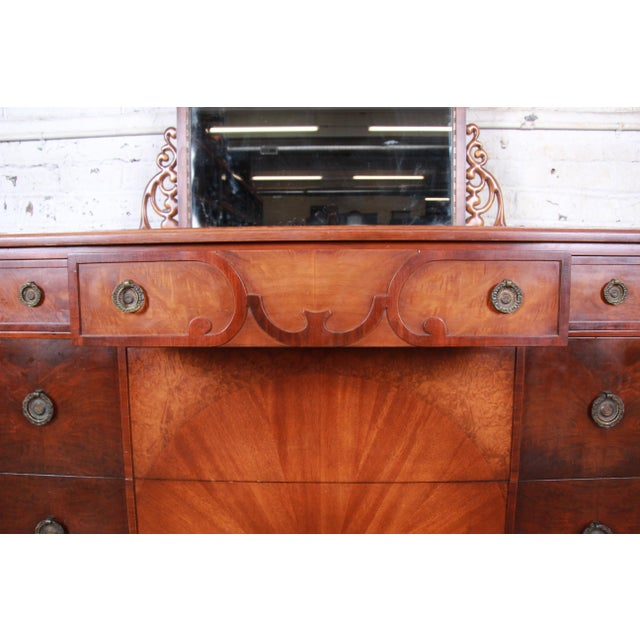 Wood Early Herman Miller Carved Walnut and Burl Wood Five-Drawer Dresser With Mirror, Circa 1920s For Sale - Image 7 of 13