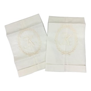 Initial K Linen Towels - A Pair