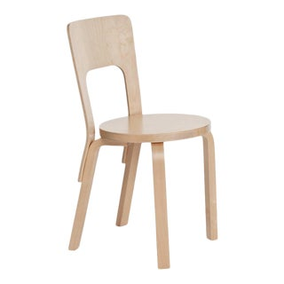 Authentic Chair 66 in Birch by Alvar Aalto & Artek For Sale