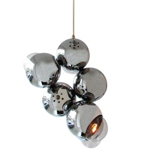 MidCentury Atomic Chrome Pendant For Sale
