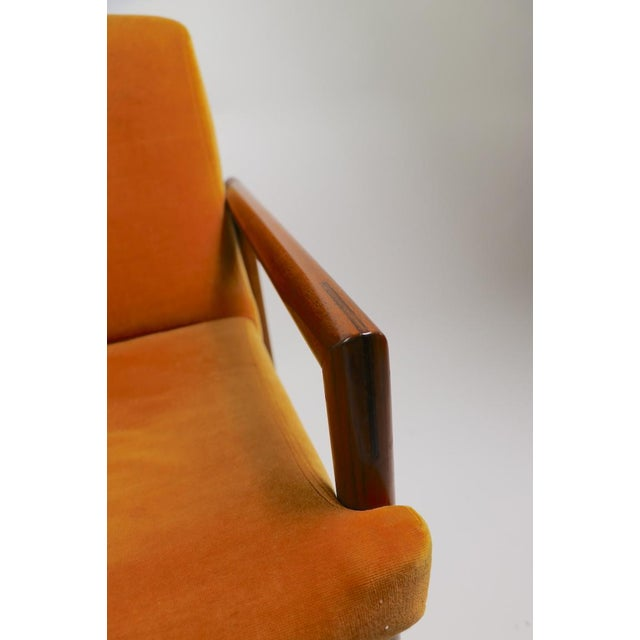 Textile Set of 6 Rosewood Frame Dining Chairs by Baughman For Sale - Image 7 of 13