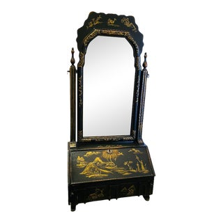 Chinoiserie Dressing Mirror With Slant Front Secretary For Sale