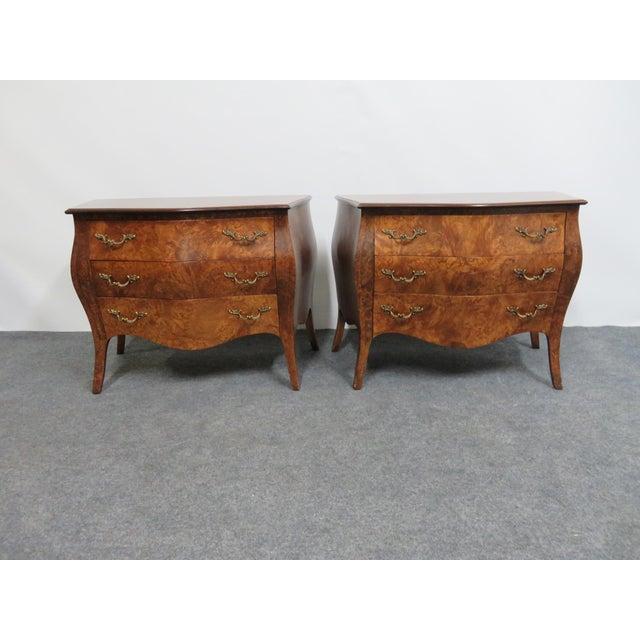 Brown Italian Burlwood Niightstands - a Pair For Sale - Image 8 of 8