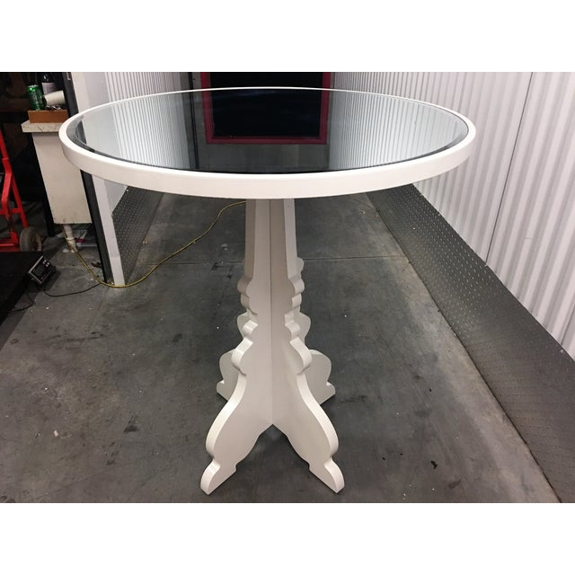 Round White Beveled Mirror Entry Table - Image 2 of 6