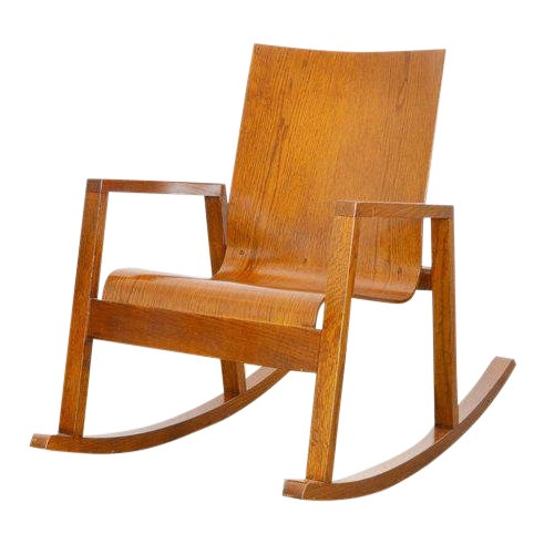 Mario Prandina Dondolo Rocking Chair in Oak For Sale