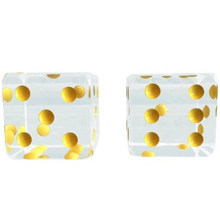 Oversized Dice Bookends in Lucite by Charles Hollis Jones For Sale