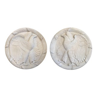 Pair of Neoclassical American Eagle Wall Medallions For Sale