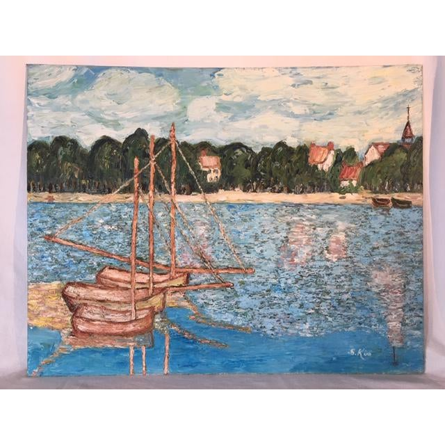 Vintage Mid-Century S. Kim Impressionist Inspired Seascape Oil Painting For Sale - Image 10 of 10