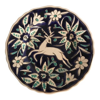 Handmade Deer With Flowers Decorate Plate For Sale