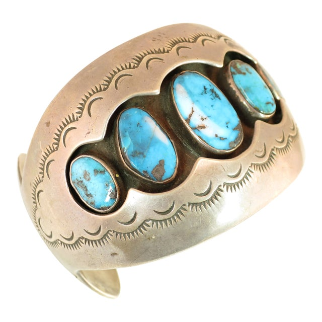 Native American Zuni Turquoise & Sterling Cuff Bracelet, Mabel Watson 1970s For Sale