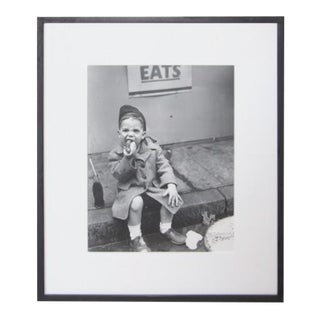 "Nat Fein ""Boy Eating a Hot Dog"" Silver Gelatin Photograph For Sale"