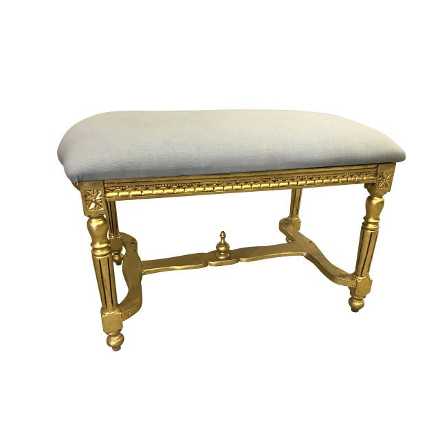 Wood Vintage Louis XVI Style Vanity Bench For Sale - Image 7 of 7