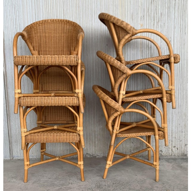 Midcentury Set of Six Bamboo and Rattan Dining Room Armchairs For Sale - Image 12 of 13