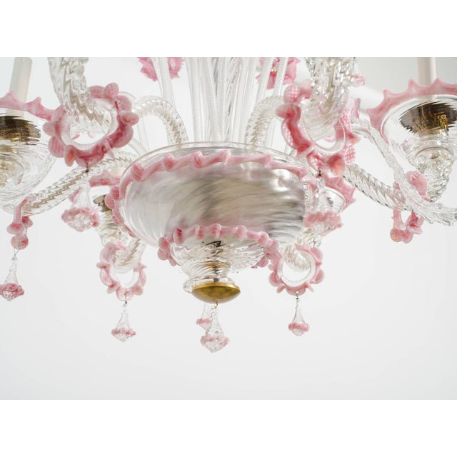 1950s Venetian Pink Six-Arm Chandelier For Sale - Image 9 of 10