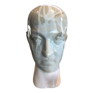 Vintage Drip Glaze Ceramic Head Figure For Sale