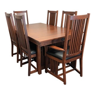 Le Meuble Villageois Mission Oak Dining Set - Table + 6 Chairs For Sale