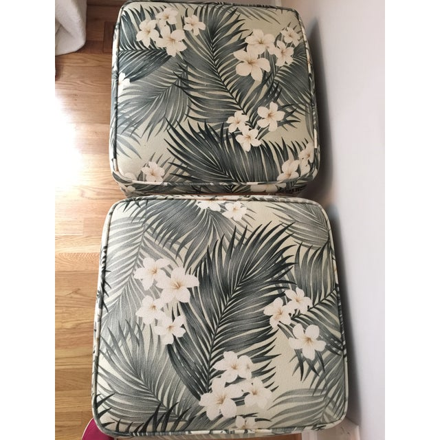 Parsons Stools With Palm Leaf Fabric - A Pair For Sale - Image 10 of 11