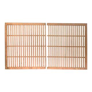 Japanese Machiya Cedar Exterior Panels/Screens - a Pair For Sale
