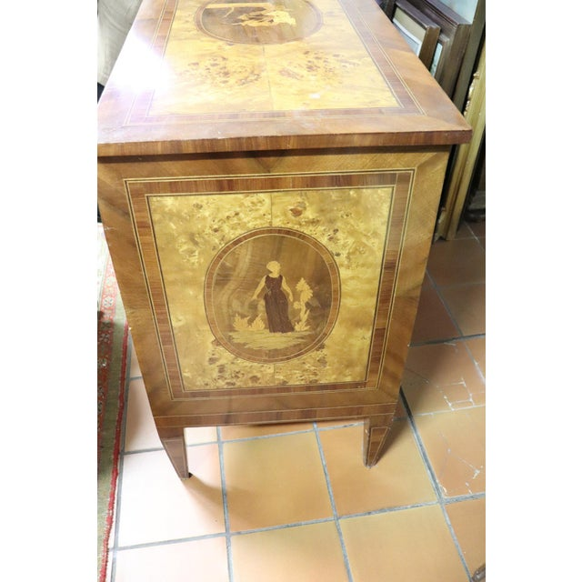 Italian 20th Century Italian Louis XVI Style Inlaid Wood Commode or Chest of Drawer For Sale - Image 3 of 13