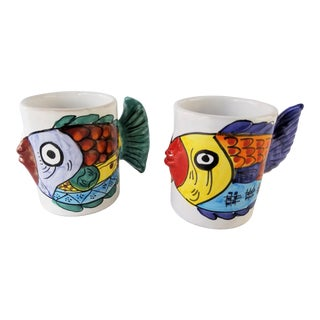 Vietri Desuir Hand Painted Yellow Tail Handle Kissing Fish Mug Cups, Italy - a Pair For Sale