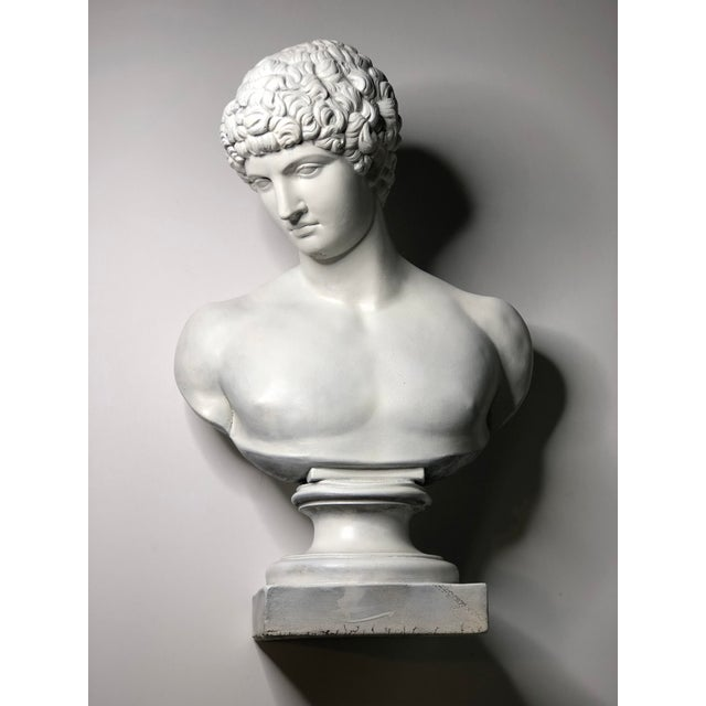 1940s 1940s Vintage Neoclassical Style Plaster Bust of Apollo Sculpture For Sale - Image 5 of 12
