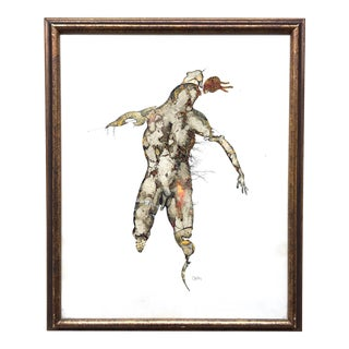 1960s Figurative Abstract Male Nude Pen and Ink Drawing, Framed For Sale