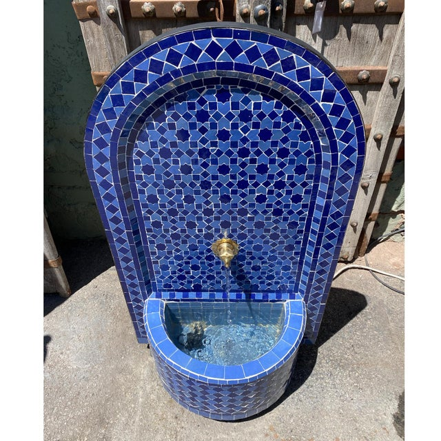 2020s Blue Moroccan Arch Tile Fountain For Sale - Image 5 of 7