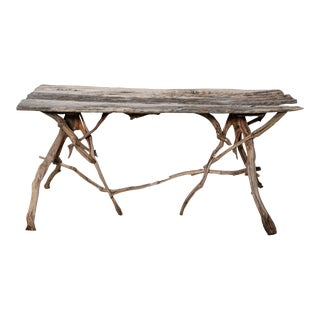 English Country Reclaimed Driftwood Garden Table For Sale