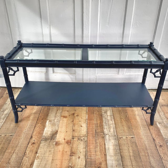 Thomasville Allegro Console Sofa Table Painted Navy For Sale - Image 11 of 11