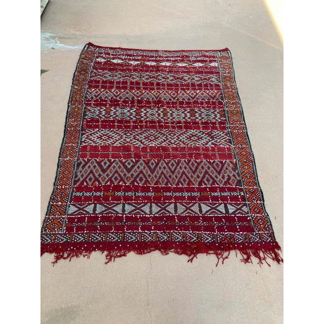 Berber Tribes of Morocco Moroccan Vintage Ethnic Textile with Sequins North Africa, Handira For Sale - Image 4 of 13