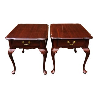 Vintage Queen Anne Style Mahogany Ethan Allen Sofa Side Tables - a Pair For Sale