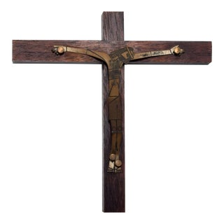 Mid Century Modern Wood Sculptured Brass Cross by Emaus, Mexico For Sale