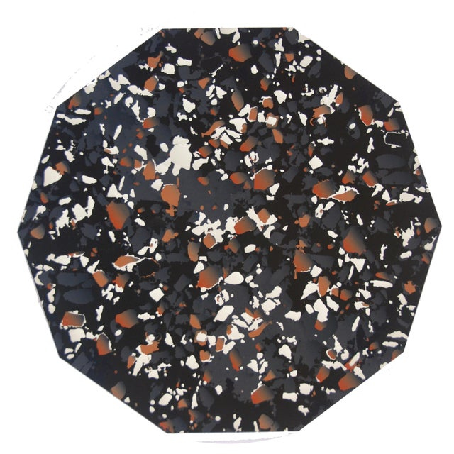 Mid-Century Modern Terrazzo Placemat in Black For Sale - Image 3 of 3