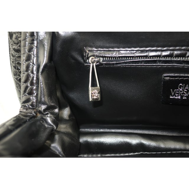 Vintage Versace Black Croc Embossed Leather Handbag With Unique Handles For Sale - Image 10 of 13