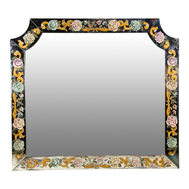 Late 19th Century Antique Venetian Reverse Hand Painted Floral Wall Mirror For Sale