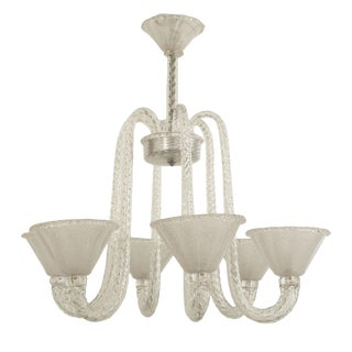 1940s Italian Seguso Six Clear Scroll Form Swirl Arms Chandelier For Sale