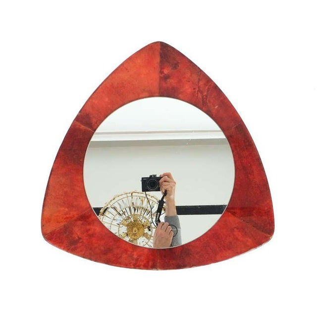 Rare Aldo Tura Red Parchment Mirror, Italy 1950 For Sale - Image 6 of 7