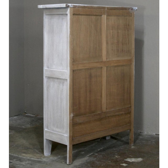 Antique Rustic Country French Painted Gothic Cabinet For Sale - Image 9 of 10