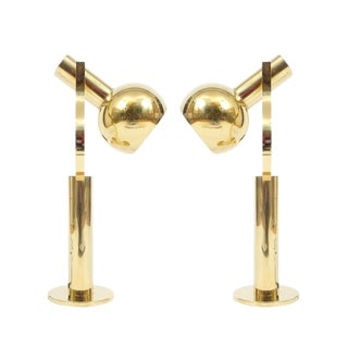 Pair Articulate Brass Desk Lamps by Staff For Sale