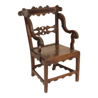 Early 19th Century Country English Oak Armchair For Sale