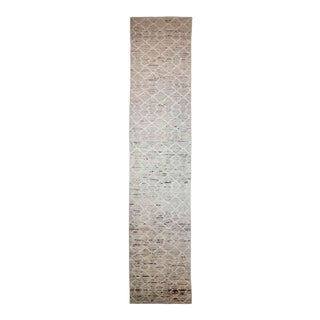 Afghan Moroccan Style Runner Rug With Ivory Tribal Details on Beige Field For Sale