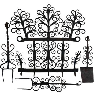 Antique Hand Forged Wrought Iron Utensils Rack, Forks and Spatula For Sale