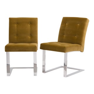 A Rare Pair of Paul Evans Velvet Upholstered Chairs 1977 For Sale