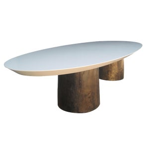 Benone Twin-Pedestal Cast Bronze Base Knife Edge Oval Dining Table