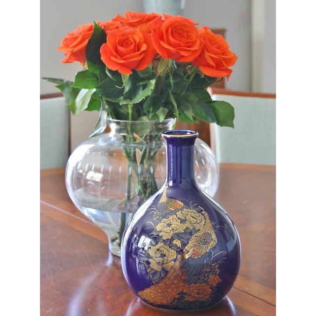 Vintage Cobalt Japanese Peacock Vase For Sale In Dallas - Image 6 of 7